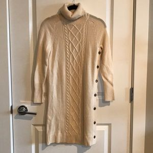 Jcrew cream button sweater dress xxsp